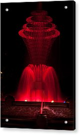 Bayliss Park Fountain Red Acrylic Print by Becky Meyer
