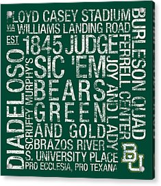 Baylor College Colors Subway Art Acrylic Print by Replay Photos