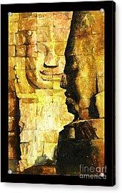 Bayon Khmer Temple At Angkor Wat Cambodia Acrylic Print