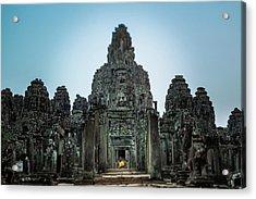 Bayon Temple And Buddhist Statue Acrylic Print