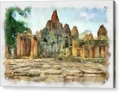 Bayon Temple Acrylic Print by Teara Na