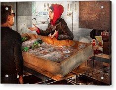 Bazaar - I Sell Fish  Acrylic Print by Mike Savad