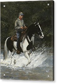 Big Creek Man On Spotted Horse Acrylic Print by Don  Langeneckert
