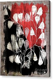 Be-leaf - Red Black A05bt3a Acrylic Print by Variance Collections