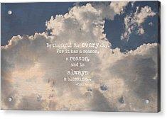 Be Thankful Acrylic Print