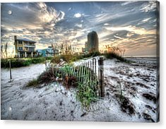 Beach And Buildings Acrylic Print