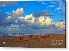 Beach And Chairs With Cloudy Sky Acrylic Print