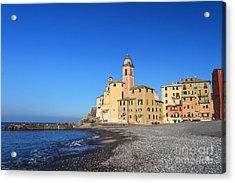 Acrylic Print featuring the photograph beach and church in Camogli by Antonio Scarpi