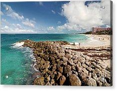 Beach At Atlantis Resort Acrylic Print by Amy Cicconi