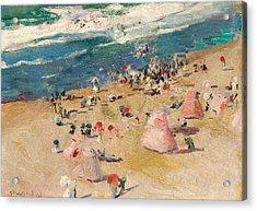 Beach At Biarritz Acrylic Print by Joaquin Sorolla y Bastida