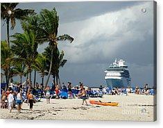 Beach At Coco Cay Acrylic Print by Amy Cicconi