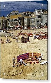 Beach At St Ives Cornwall Uk 1990 Acrylic Print by David Davies
