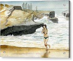 Beach At Sunset Cliffs Acrylic Print