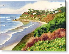 Beach At Swami's Encinitas Acrylic Print by Mary Helmreich