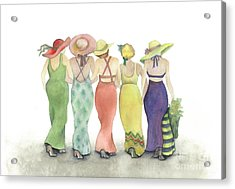 Beach Babes In Coverups And Hats Ready For A Day In The Sun Acrylic Print by Nan Wright