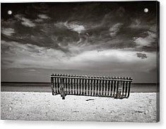 Beach Bench Acrylic Print by Dave Bowman