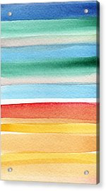 Beach Blanket- Colorful Abstract Painting Acrylic Print by Linda Woods