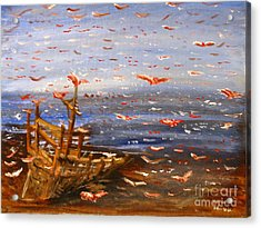Beach Boat And Birds Acrylic Print