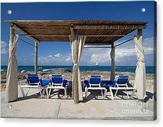 Beach Cabana With Lounge Chairs Acrylic Print by Amy Cicconi
