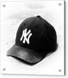 Beach Cap Black And White Acrylic Print by John Rizzuto