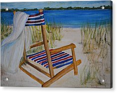 Acrylic Print featuring the painting Beach Chair by Debbie Baker