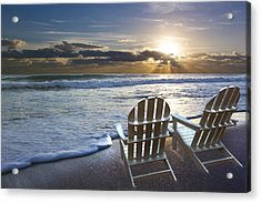 Beach Chairs Acrylic Print by Debra and Dave Vanderlaan