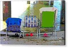 Beach Chairs Acrylic Print by Jeanne Forsythe