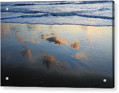 Beach Clouds Reflected At Sunset Texel Acrylic Print