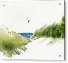 Acrylic Print featuring the painting Beach Dunes And Bird by Nan Wright