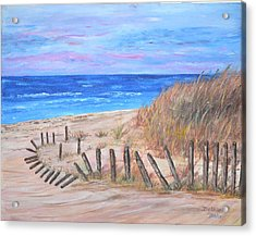 Acrylic Print featuring the painting Beach Fence by Debbie Baker