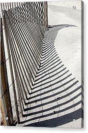 Beach Fence With Shadow Acrylic Print by Ellen Tully