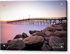 Beach Fishing Pier And Rocks At Sunrise Acrylic Print