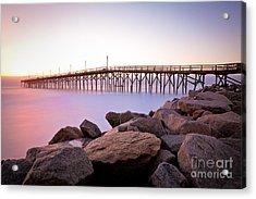 Beach Fishing Pier And Rocks At Sunrise Acrylic Print