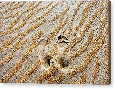 Beach Foot Prints Acrylic Print by Sean Davey