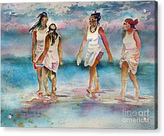 Acrylic Print featuring the painting Beach Fun by Mary Haley-Rocks
