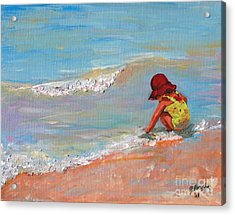 Beach Girl In Red Hat Acrylic Print by Jeanne Forsythe