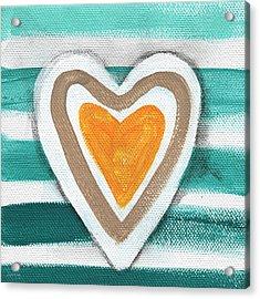 Beach Glass Hearts Acrylic Print by Linda Woods