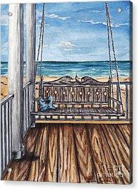Beach House Patio Acrylic Print by Sheena Pape