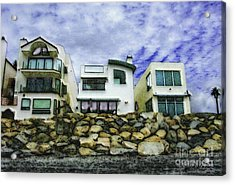 Acrylic Print featuring the digital art Beach Houses In Oceanside by Rhonda Strickland