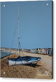 Beach Huts And Boat On The Spit Acrylic Print by Linda Monk