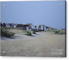 Beach Huts And Dunes Acrylic Print by Linda Monk