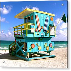 Beach Life In Miami Beach Acrylic Print