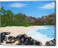Beach On Helicopter Island Acrylic Print by Vicki Maheu