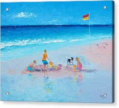 Beach Painting Building Sandcastles By Jan Matson Acrylic Print by Jan Matson