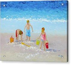 Beach Painting - Sandcastles Acrylic Print