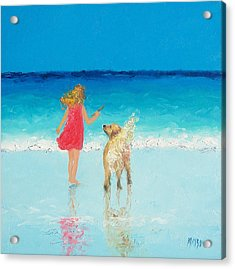 Beach Painting 'sunkissed Hair'  Acrylic Print by Jan Matson