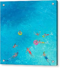 Beach Painting 'the Swimmers'  By Jan Matson Acrylic Print by Jan Matson