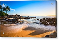Beach Paradise - Beautiful And Secluded Secret Beach In Maui. Acrylic Print