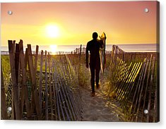 Beach Picket Fences Acrylic Print by Sean Davey