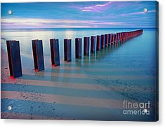 Beach Pylons At Sunset Acrylic Print